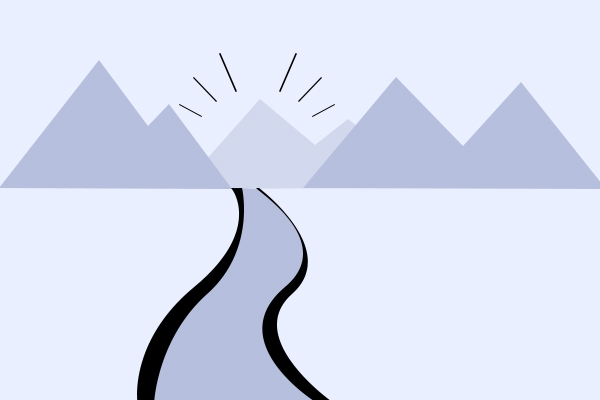 Illustration of a winding road through mountains. Copyright Aurora Blue Inc. 2020.