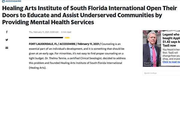 Media press release Healing Arts Institute of South Florida International Open Their Doors to Educate and Assist Underserved Communities by Providing Mental Health Services
